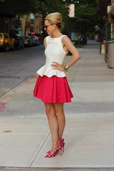 super cute peplum blouse with full skirt & pretty shoes