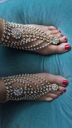 Pearl Diamante Kundan Barefoot Sandals Wedding Bride Bohemian Gypsy Sandals Bohemian Boho Grecian Bollywood Beach Wedding  Vacation sandals