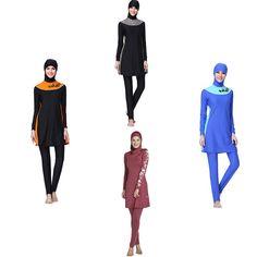 d7444db4e3 2018 Plus Size Modest Muslim Swimwear Islamic Swimsuit For Women Hijab Swimming  Suit Full Coverage Swimsuit 2 Pieces Beachwear