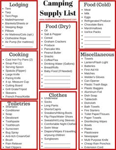 Must Have Tips For Camping and A Camping Supply List