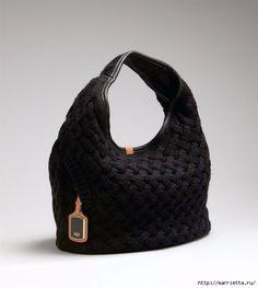 Стильная вязаная спицами сумка-плетенка. Описание (15) (541x604, 107Kb)