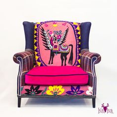Beautiful hand embroidery of 1982. Very comfortable vintage armchair by BirBor. Available in Moscow, Russia
