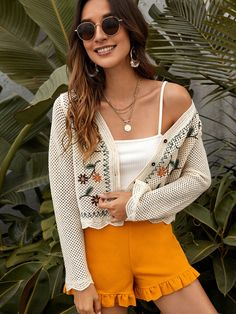Pointelle Flower Embroidered Button Through Cardigan Embroidered Flowers, Boho Shorts, Fashion News, Vintage Inspired, Sweater Cardigan, Bodysuit, Feminine, Rompers, Buttons