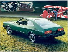 Page 3 of the 1977 Ford Mustang promotional booklet shows a rear right view of a Medium Emerald Glow green Mustang II hatchback with standard blackout grille, styled steel wheels with optional trim rings, bias belted raised Green Mustang, Shelby Mustang, Mustang Cobra, Ford Mustang, Mustang Hatchback, Ford Lincoln Mercury, Weird Cars, Chevy Trucks, Corvette