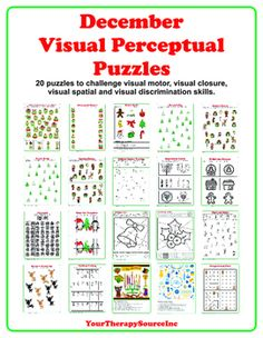 This download is a collection of 20 visual perceptual worksheets with a December theme. Practice visual motor, visual discrimination, visual spatial, visual closure and overall visual perceptual skills with these worksheets.Print off multiple copies for your students, staple the packet together and your activities are ready to go!