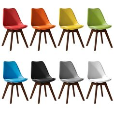 Jamie Walnut colour Tulip Dining Chair, Eiffel Inspired, Solid Wood Padded Seat   Home, Furniture & DIY, Furniture, Chairs   eBay!
