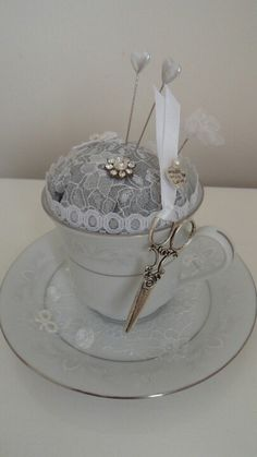 A gift idea for the mother of the bride or groom, or even the bridesmaid or maid of honour.....a vintage teacup pin cushion...add an extra piece of jewelry, or a hat pin to make it even more special......