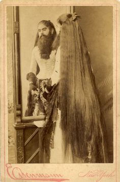 Fortune Clofullia, Bearded Lady - Charles Eisenmann Too much Androgel? Cirque Vintage, Vintage Circus, Vintage Photographs, Vintage Photos, Black Beast, Victorian Photography, Human Oddities, Bearded Lady, Drag
