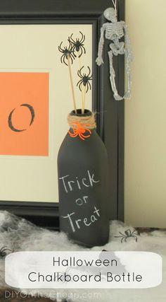 Easy Halloween Chalkboard Bottle
