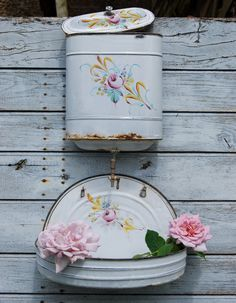 Stunning 19thC Antique French Chic Shabby Handpainted Enamel Water Fontaine / Lavabo