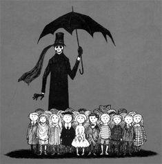 Edward Gorey (1925-2000) fue un ilustrador norteamericano cuyo estilo de dibujo se caracterizaba por sus tintes macabros