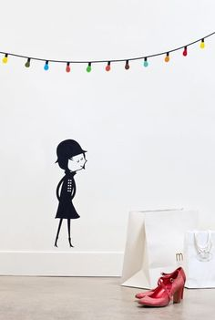 Sticker Mural La Fête Blanca Gomez - Taille : 120 x 075 cm Kids Room Wall Stickers, Wall Decals, Removable Wall Stickers, Decorate Your Room, Beautiful Wall, Little Princess, Fairy Lights, Decoration, Wall Design
