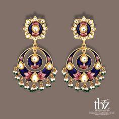 New meenakari earrings - 2 - Latest Jewellery Design for Women Jewelry Design Earrings, Jewelry Art, Fashion Jewelry, India Jewelry, Gold Jewellery, Latest Jewellery, Women Jewelry, Indian Jewelry Sets, Indian Wedding Jewelry