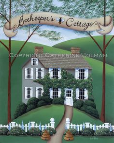 Folk Art Painting Beekeeper's Cottage by catherineholman on Etsy $269.95 use discount code PIN14 for 10% off