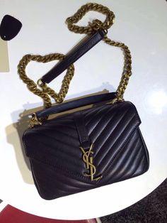 00cc98ddb10 Monogram Saint Laurent Chain Wallet in Black Grain de Poudre Textured  Matelasse Leather with Gun-