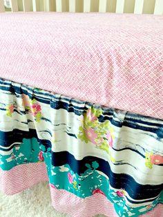 Crib Skirt Floral Dust Ruffle Gathered Crib by RitzyBabyOriginal