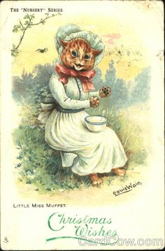 "Vintage Louis Wain, The Nursery Series , Little Miss Muffett Cat  ""Christmas Wishes"""