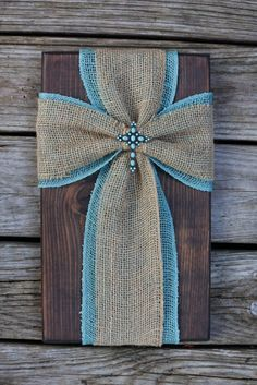 Burlap cross on wood fabric cross on wood by SleepCreateRepeat