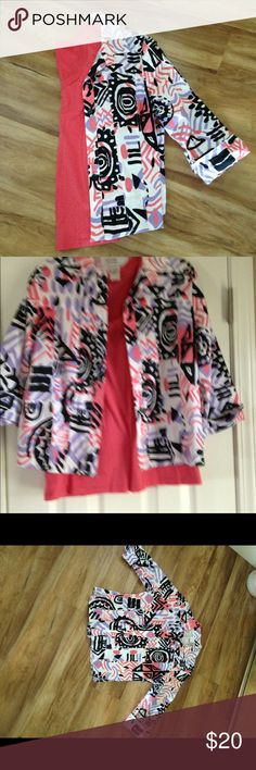 Jacket and Top Set This coral, black and white jacket comes with matching coral top.  Jacket is a small and top is a medium.  The top is Loft brand. LOFT Jackets & Coats Blazers