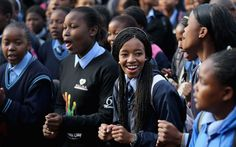 Schoolchildren sing 'Happy Birthday' at Phefeni High School, opposite Mandela's former home in Soweto Township in Johannesburg Singing Happy Birthday, Love Dating, Nelson Mandela, Former President, Online Dating, High School, Gender, News, Celebrities