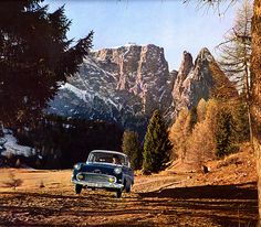 The Mysterious Case of the Flying Opel 1960 calendar - Opel Rekord  Surely, pasting an Opel in a nice natural setting could have been done better, even in 1959, when the calender was made.  Location: Seisser Alm / Grödental, Southern Tirol, Italy. Italian: Alpe di Siusi / Val Gardena.