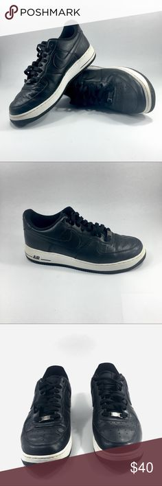 Nike Men's Air Force 1 (size 9) Score an iconic look with the Nike® Air Force One fashion sneakers. Designed for performance or casual wear, this low-cut style has a cushioned midsole that provides maximum comfort during wear. The thick Nike® Air midsole absorbs shock upon impact, and the flexible ankle region allows for a full range of motion. Designed for collectors and athletes, this class style continues to make sneakerhead history year after year. Nike Shoes Sneakers