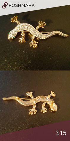 Vintage Lizard  Rhinestone Brooch Vintage Lizard  Rhinestone Brooch Vintage Jewelry Brooches
