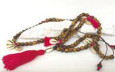 Ketten lang - lange Kette, Holzperlen, Muscheln - ein Designerstück von moanda bei DaWanda