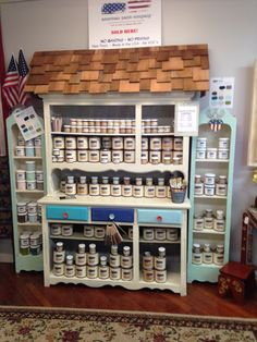 Www.sassyfrassco.com, Anacortes, American paint company, clay/chalk/mineral base paint, furniture paint, chalk like paint, retail paint display, paint display, Limoges, surfboard, spacious skies, shoreline, cedar shingles on a hutch