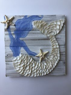 Mermaid decor Mermaid pallet Mermaid Gift is part of Shell crafts diy - This adorable mermaid is a white washed pallet with white shell tail detail and real starfish Mermaid color can be customized please contact me Mermaid Crafts, Mermaid Art, Mermaid Shell, Seashell Art, Seashell Crafts, Starfish Painting, Seashell Projects, Diy Projects, Sea Crafts