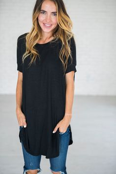High Low Hem Tunic - Black