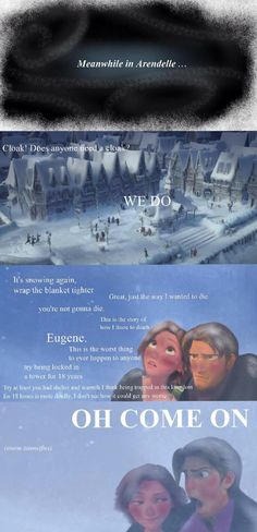 "HAHAHHAH ""deleted scene"" for Frozen, this is too perfect// OH MY GOSH I AM DYING"
