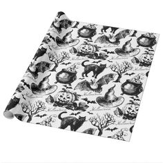 Halloween Black Cat Bats Pumpkins Vintage Pattern Wrapping Paper #Halloween