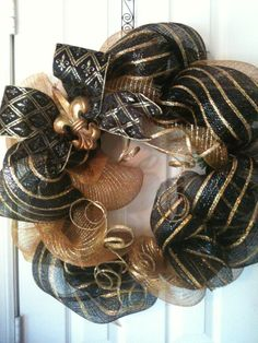 New Orleans Saints Wreath by lcampart on Etsy, $70.00