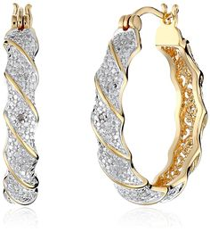 18k Yellow Gold-Plated Two-Tone Diamond Accent Twisted Hoop Earrings *** Read more  at the image link.