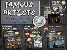 Art Posters for your elementary classroom.Get students excited about art by displaying these Famous Artists Posters in your classroom. Each printable poster has the artist's name, a cartoon drawing of the artist and an example of their work. Super easy!