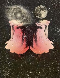 Cosmic sisters by Julie Loen.  #moon