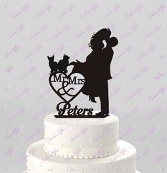 Wedding Cake Topper Silhouette Couple Mr & Mrs Personalized with Last Name and Two Cats, Acrylic Cake Topper [CT4c2] by TrueloveAffair on Etsy https://www.etsy.com/ca/listing/231168560/wedding-cake-topper-silhouette-couple-mr