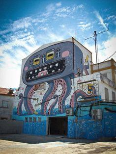 """Alien Octopus"" - street art by Mr.Thoms in Abrantes, Portugal #streetart"