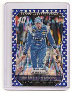 2016 PANINI PRIZM NASCAR CARDS BLUE FLAG PRIZM JIMMIE JOHNSON 58/99