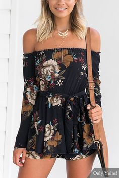 864f07cc332 Navy Sexy Random Floral Print Off Shoulder Playsuit with Selff-tie Design  US 25.95 Cute