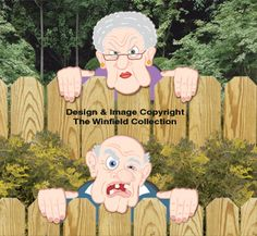 Grumpy Fence Peekers Wood Pattern