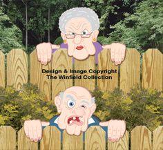 Grumpy Fence Peekers Wood Pattern