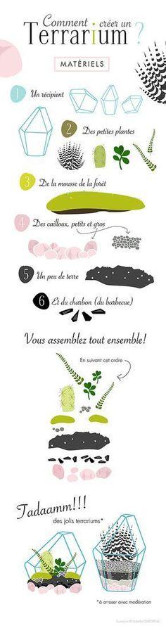 Créer son terrarium Illustration ©Isabelle GABORIEAU Tous les ingrédients et le pas à pas pour créer un terrarium.