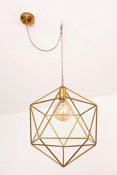 Entryway modern geometric chandelier lighting - brass pendant cage light shade - bedroom ceiling light fixture - modern home decor. A perfect metallic geometric lighting, icosahedron shaped. Rustic Bathroom Lighting, Dining Room Lighting, Bedroom Lighting, Entryway Lighting, Entryway Wall, Light Fixtures Bedroom Ceiling, Modern Light Fixtures, Modern Lighting, Lighting Ideas