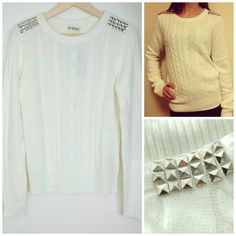 White sweater with silver pyramids studs..supercoooool