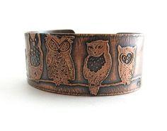 Copper Etched Owl Cuff Handmade Copper Metal Jewelry Owl Bracelet | BooBeads - Jewelry on ArtFire