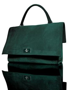 Truly NM: Givenchy Suede Shark-Tooth-Lock Shoulder Bag in green