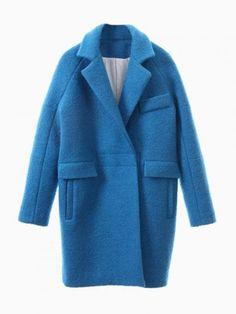 Blue Long Sleeve Lapel Ovoid Coat