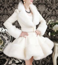 Elegant Turn-Down Collar Faux Fur Embellished Long Sleeve White Ruffle Coat For Women, WHITE, M in Jackets & Coats   DressLily.com